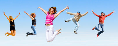 Team jumping Stock Image