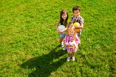Team of kids with balls Stock Photography