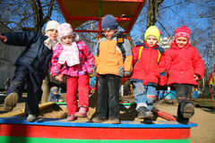 Team in kindergarten2 stock afbeeldingen