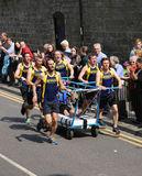 Team 1 in the knaresborough bed race 2015 Stock Photo
