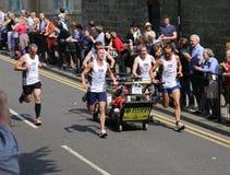 Team 12 in the knaresborough bed race 2015 Stock Image