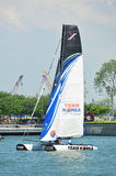 Team Korea practising at Extreme Sailing Series Singapore 2013 Stock Images