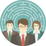 Team in Labyrinth. Conceptual round illustration of the team of young promising professionals in labyrinth Royalty Free Stock Photos