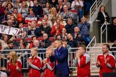 Team Latvia, durante juego redondo del grupo II del mundo de FEDCUP BNP Paribas el primer foto de archivo