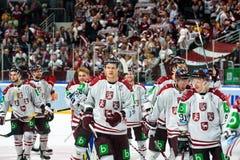 Team Latvia na winst tegen team Rusland royalty-vrije stock fotografie