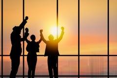 Team le travail et le concept de succes, gens d'affaires de corpus de silhouette Photographie stock libre de droits