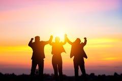 Team le travail et le concept de succes, gens d'affaires de corpus de silhouette Photographie stock