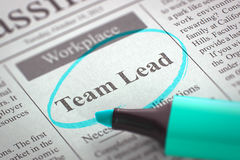 Team Lead Hiring Now. 3D. Royalty Free Stock Photo