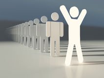 Team leader. Outstanding leader of a team. Glowing human figure ahead of line. People in a row. Business concept Stock Image