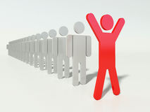 Team leader. Outstanding leader of a team. Red human figure ahead of line. People in a row. Business concept Royalty Free Stock Photography