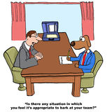Team Leader Behavior. Business cartoon of job interview with dog and psychologist, 'Is there any situation in which you feel it's appropriate to bark at your vector illustration