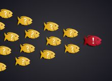 Team Leader Concept - formation d'essaim de poissons illustration stock