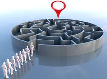 Team leader finds problem solution maze Royalty Free Stock Image