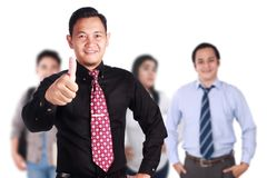 Team Leader of Creative People Shows Thumb Up. OK gesture, successful business people manager, leadership concept Royalty Free Stock Image
