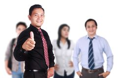 Team Leader of Creative People Shows Thumb Up. OK gesture, successful business people manager, leadership concept Royalty Free Stock Photos