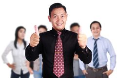 Team Leader of Creative People Shows Thumb Up. OK gesture, successful business people manager, leadership concept Royalty Free Stock Photography