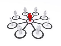 Team leader. 3d render of a business team with the leader in the middle Royalty Free Stock Photos
