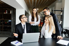 Team leader explain and discussing. With team royalty free stock photos