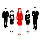 Team leader female. Successful team headed by the leader . Vecto Stock Images