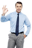 Team leader gesturing okay sign Stock Image