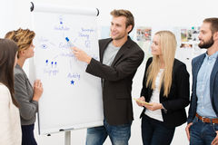 Team leader giving a presentation. Handsome smiling young male team leader giving a presentation to his business colleagues standing in front of a flipchart with Royalty Free Stock Photography