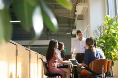 Team leader meeting with young asian employees in smart casual wear.  royalty free stock photo