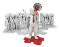 Team leader with megaphone. 3d team standing on gray puzzle pieces while their leader making an announcement with a red megaphone - Image on white background Royalty Free Stock Photography