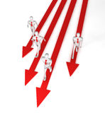 Team with the leader moving on the arrows. 3d team with the leader moving on the arrows Royalty Free Stock Image