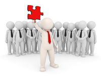 Team leader showing solution puzzle - 3d people. 3d team leader showing a red puzzle piece in front of his people -  Solutions concept - Image on white Stock Image