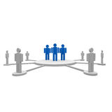 Team leader. Three persons in blue around of other people Stock Image