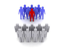 Team with leader versus team without leader, crowd. Concept 3D illustration Royalty Free Stock Images