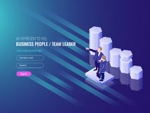 Team leader, work team go to the success, two busness man, schedule up, marketing concept and data analysis IT isometric. 3d vector Stock Image