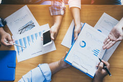 Team leaderof business man is pointing  financial results. Royalty Free Stock Image