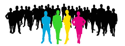 Team leaders with employees stock illustration