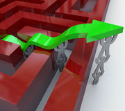Team Lifting Arrow Over Walls of Maze. Several figures team up to push up a green arrow over the walls of a maze, symbolizing teamwork and growth Stock Photos