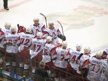The team Lokomotiv. After a goal is scored, the team Lokomotiv Stock Images