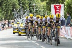 Team LottoNL-Tunnel-bohrwagen - Team Time Trial 2015 Lizenzfreie Stockfotos