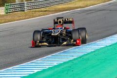 Team Lotus Renault F1, Romain Grosjean, 2012. JEREZ DE LA FRONTERA, SPAIN - FEB 10: Romain Grosjean of Lotus Renault F1 races on training session on February 10 Stock Images
