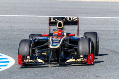 Team Lotus Renault F1, Romain Grosjean, 2012. JEREZ DE LA FRONTERA, SPAIN - FEB 10: Romain Grosjean of Lotus Renault F1 races on training session on February 10 Stock Photos