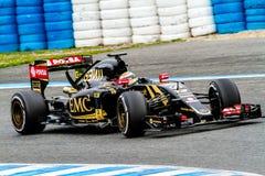 Team Lotuss F1, Pastor Maldonado, 2015 stockbilder
