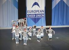 Team Made più dall'Italia che esegue ai campionati Cheerleading europei 2018 dell'ECU Immagine Stock Libera da Diritti
