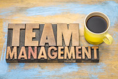 Team management banner in letterpress wood type Royalty Free Stock Photos