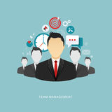Team management flat illustration Royalty Free Stock Photo