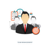 Team management flat illustration Stock Image