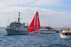 Team Mapfre Very Close Between Spectator Boats Volvo Ocean Race Alicante 2017 Stock Image