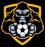 Gorilla Football Soccer Mascot. Team mascot with determined gorilla holding football or soccer ball royalty free illustration