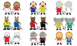 Team Mascot. World cup cute kids cartoon children Mascot Animal Team Soccer Royalty Free Stock Image