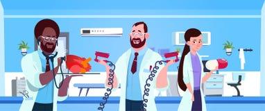 Team Of Medical Doctors Holding Equipment For Cardiac Resuscitation Over Hospital Ward Background. Vector Illustration stock illustration