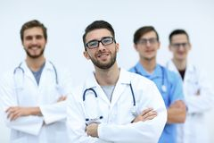 Team of medical professionals. Photo with copy space Royalty Free Stock Image