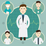 Team medical staff and group of doctors at hospital  illus Stock Photos